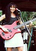 Jody on bass guitar with reggae group Kaona